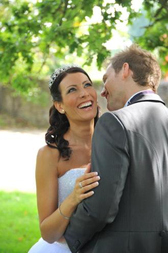 Laughing wedding pic